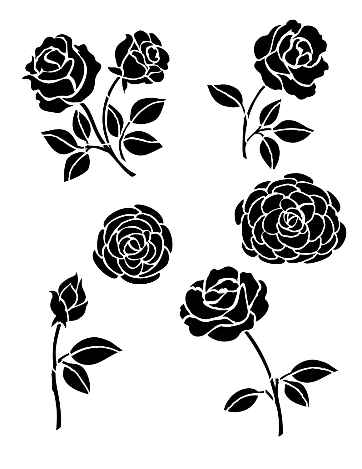 Roses and Peonies Stencil 8x10