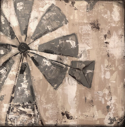 """Rustic windmill"" 20x20 original on canvas"