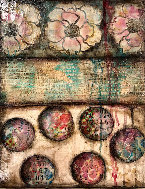 """Circles"" 11x14 mixed media original on wood clearance"