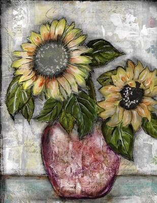 """Sunflower Duo"" Print on Wood and Print to be Framed"