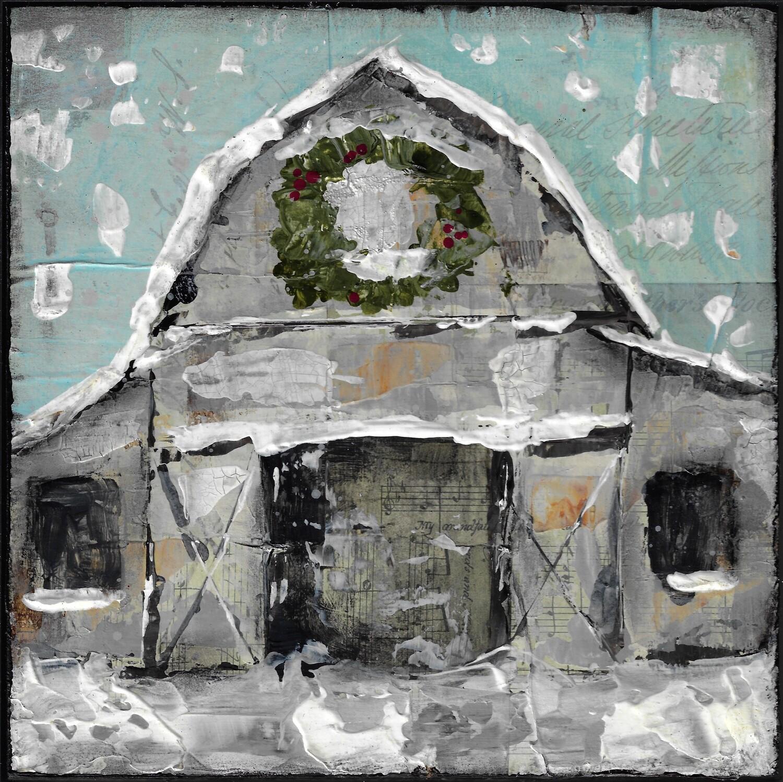 """Winter Farmhouse"" 8x8 mixed media original"