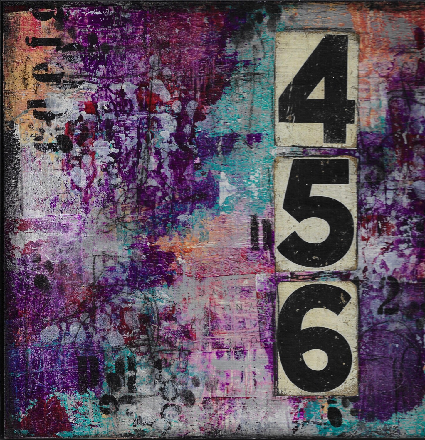 """654 Abstract"" 12x12 clearance mixed media original clearance"
