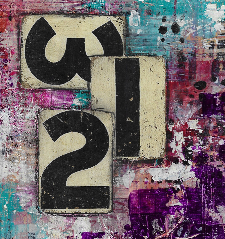 """321 Abstract"" 12x12 mixed media original Clearance"