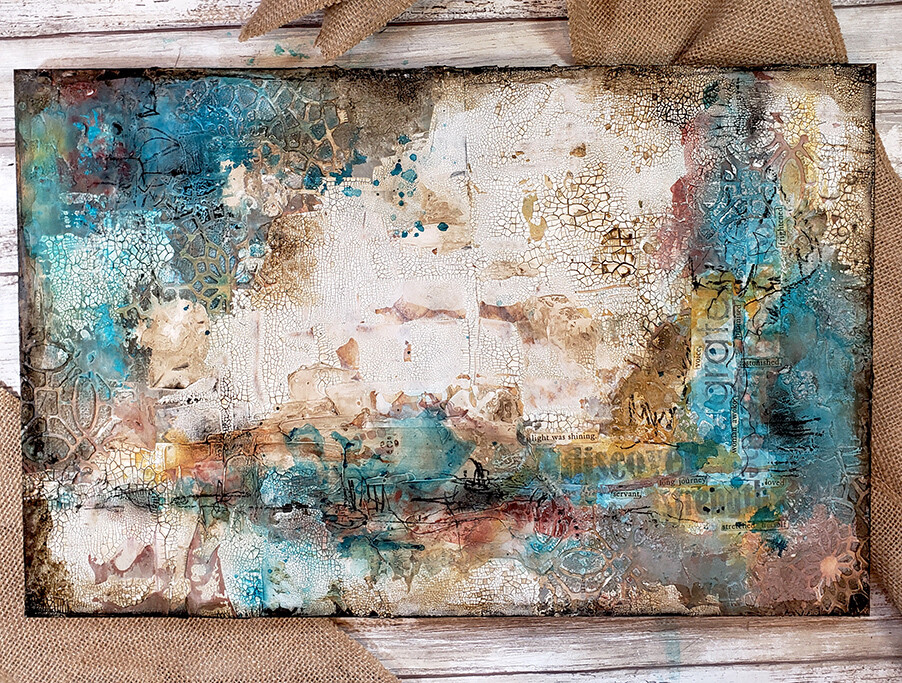 """The light was shining"" mixed media abstract 11x17 original"