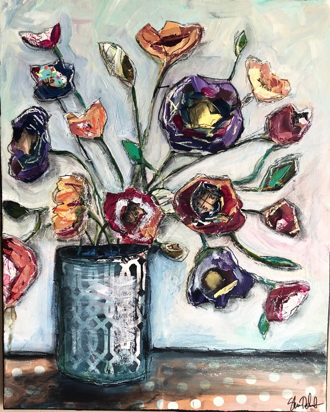 """""""Flowers in Vase"""" 16x20 mixed media original on canvas"""