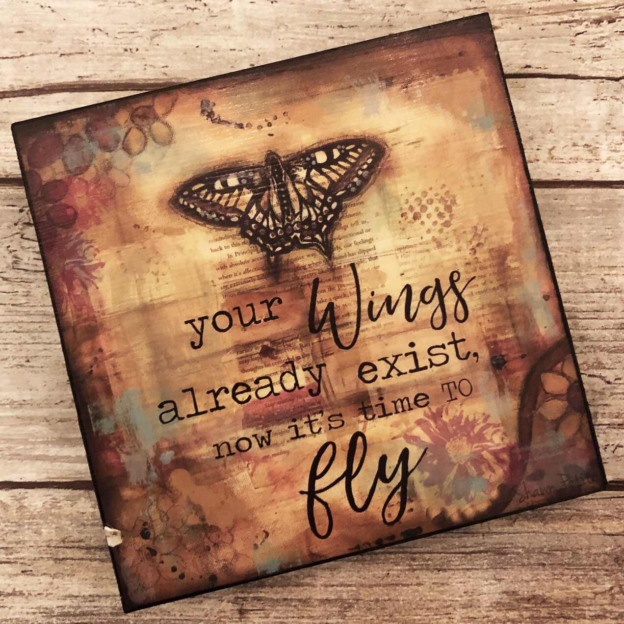 """Your wings are ready exist"" 4x4 print on wood clearance"