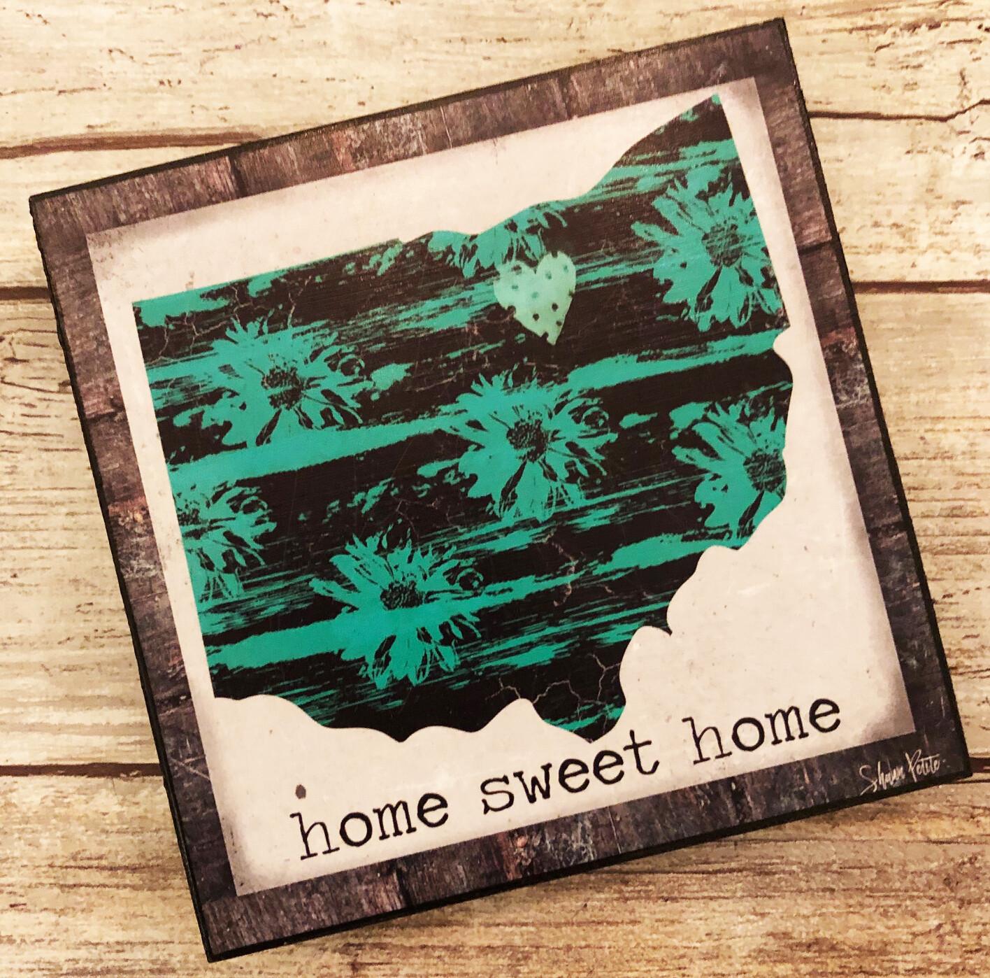 """Home Sweet Home"" 4x4 print on wood clearance"