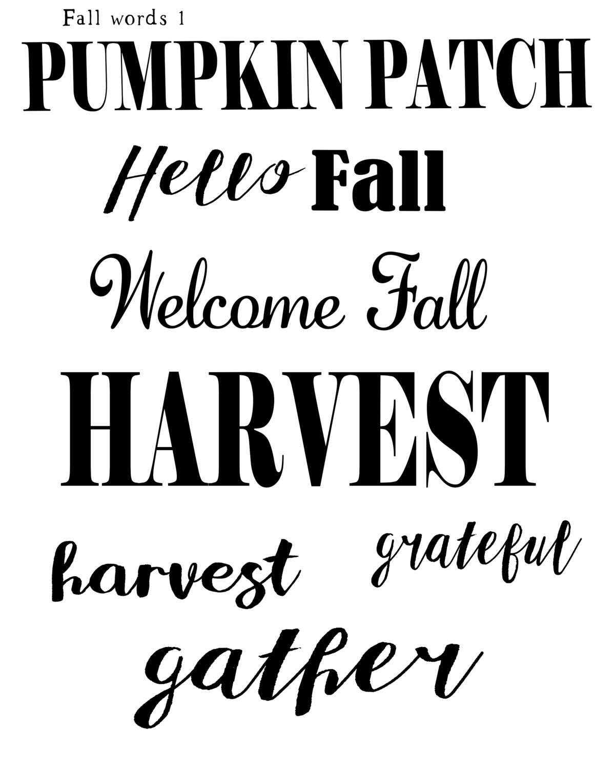Fall Words 1 12x16 stencil