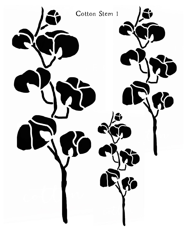 Cotton Stem 1 12x16 stencil