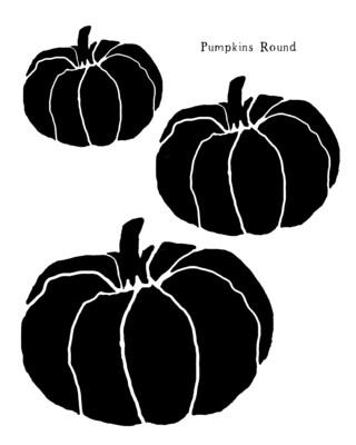 Pumpkins Round stencil 12x16