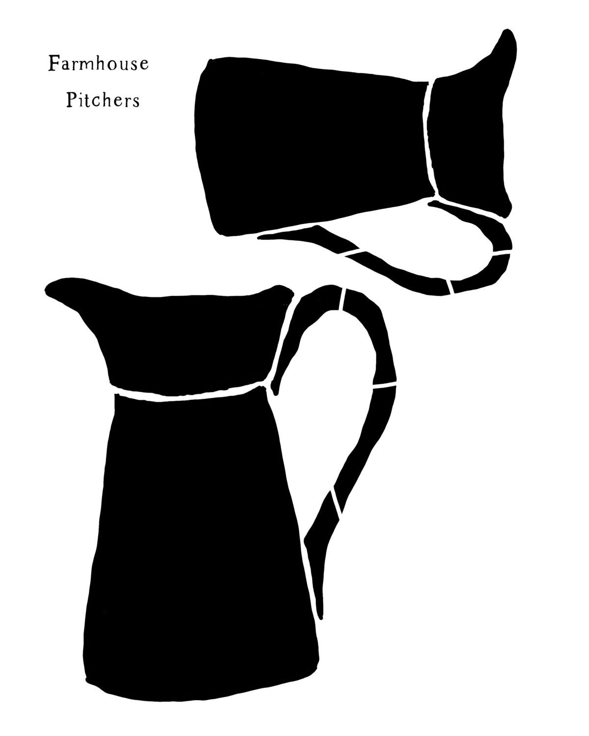 Farmhouse Pitchers 8x10 stencil