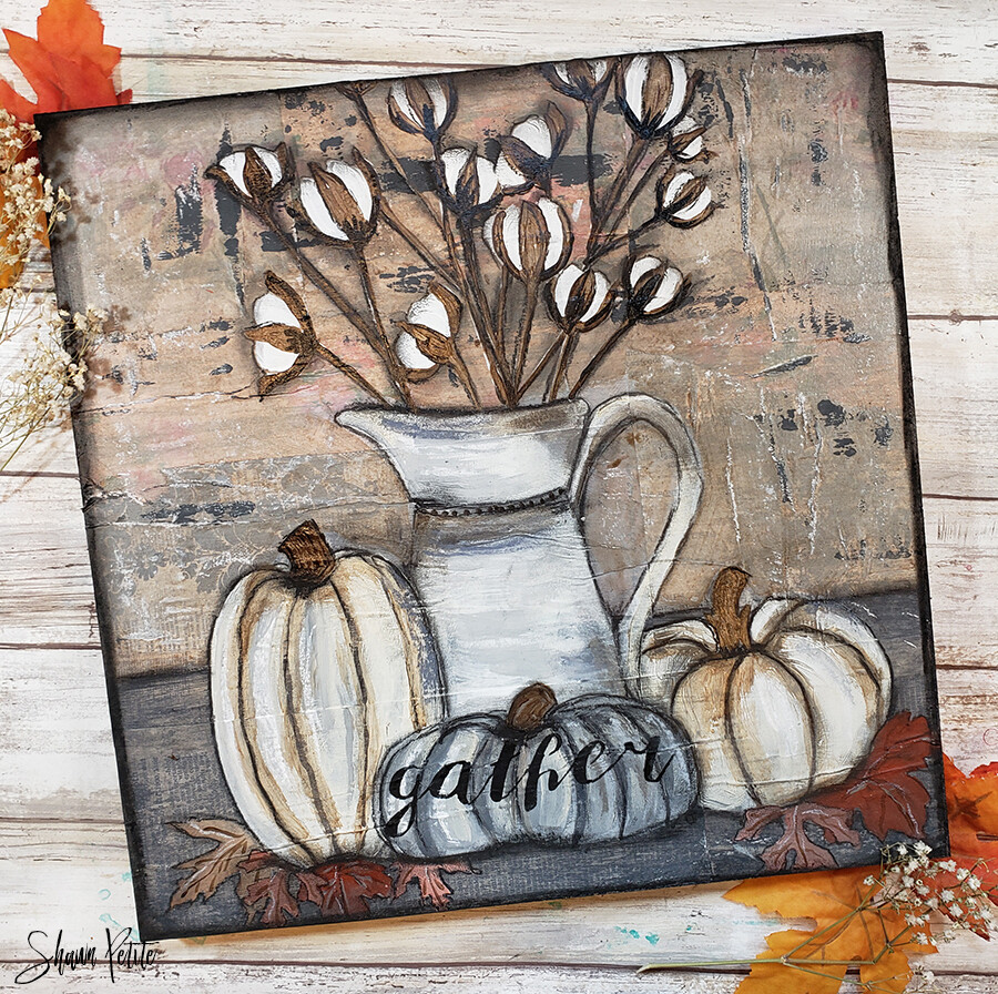 """Grateful"" rustic cotton still life, Print on Wood and Print to be Framed"