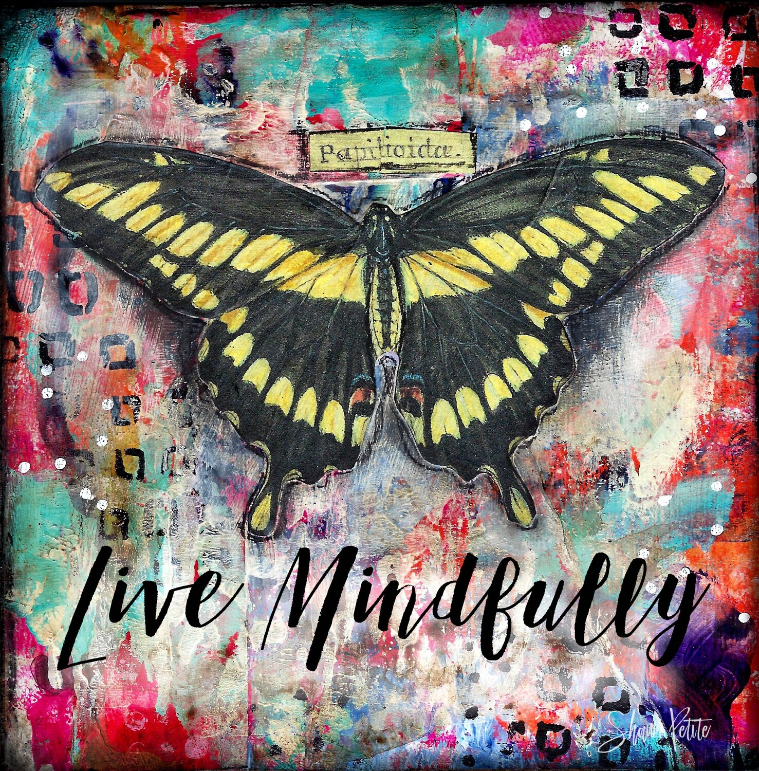 """Live Mindfully"" yellow butterfly Print on Wood and Print to be Framed"