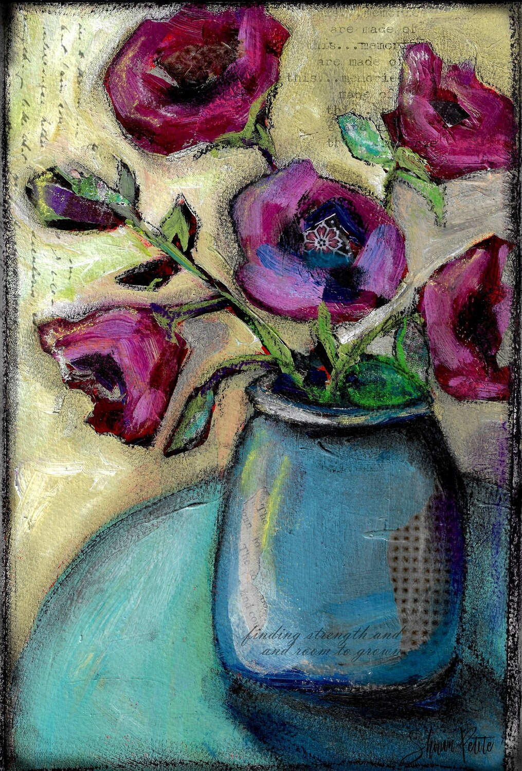 """Room to grow"" blue vase Print on Wood 8x10 Clearance"