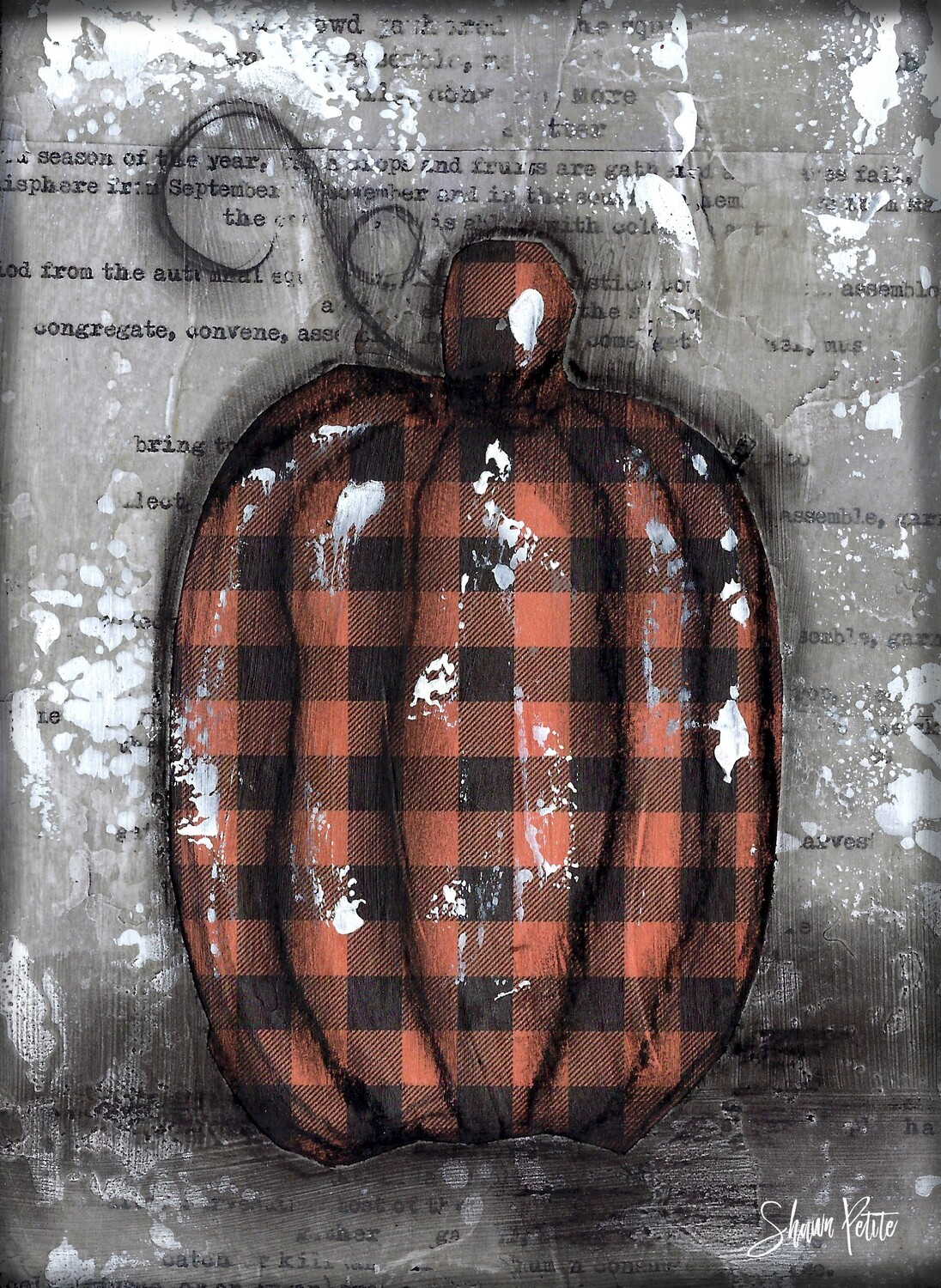 """Pumpkin"" orange plaid tall Print on Wood and Print to be Framed"