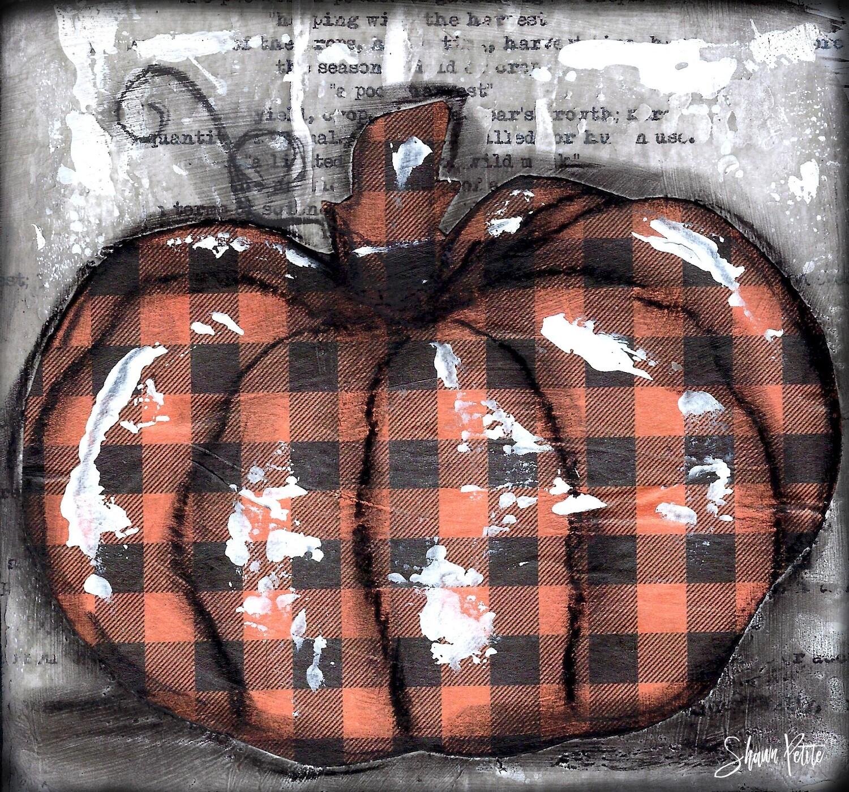 """Pumpkin"" orange plaid round Print on Wood and Print to be Framed"