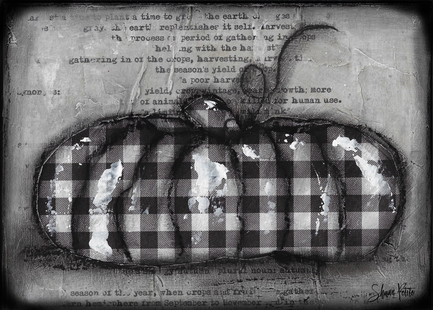 """Pumpkin"" black and white plaid flat Print on Wood and Print to be Framed"