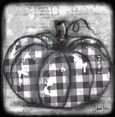 """Pumpkin"" black and white plaid round Print on Wood and Print to be Framed"