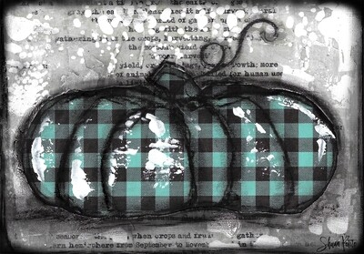 """Pumpkin"" teal plaid flat Print on Wood and Print to be Framed"