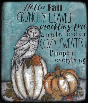 """Fall Words"" owl Print on Wood and Print to be Framed"