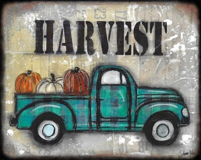 """Harvest"" farmhouse truck Print on Wood and Print to be Framed"