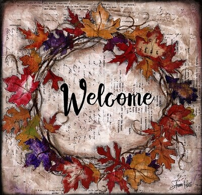 """Welcome"" fall leaves wreath Print on Wood and Print to be Framed"