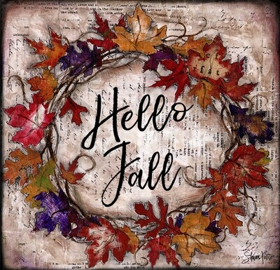 """Hello Fall"" fall leaves wreath Print on Wood and Print to be Framed"