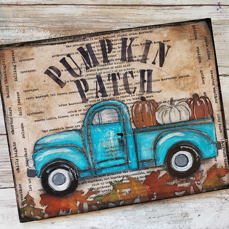 """""""Pumpkin Patch"""" truck Print on Wood and Print to be Framed"""