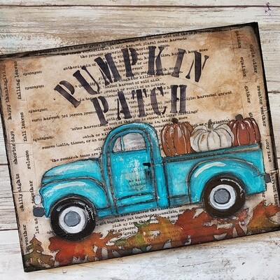 """Pumpkin Patch"" truck Print on Wood and Print to be Framed"
