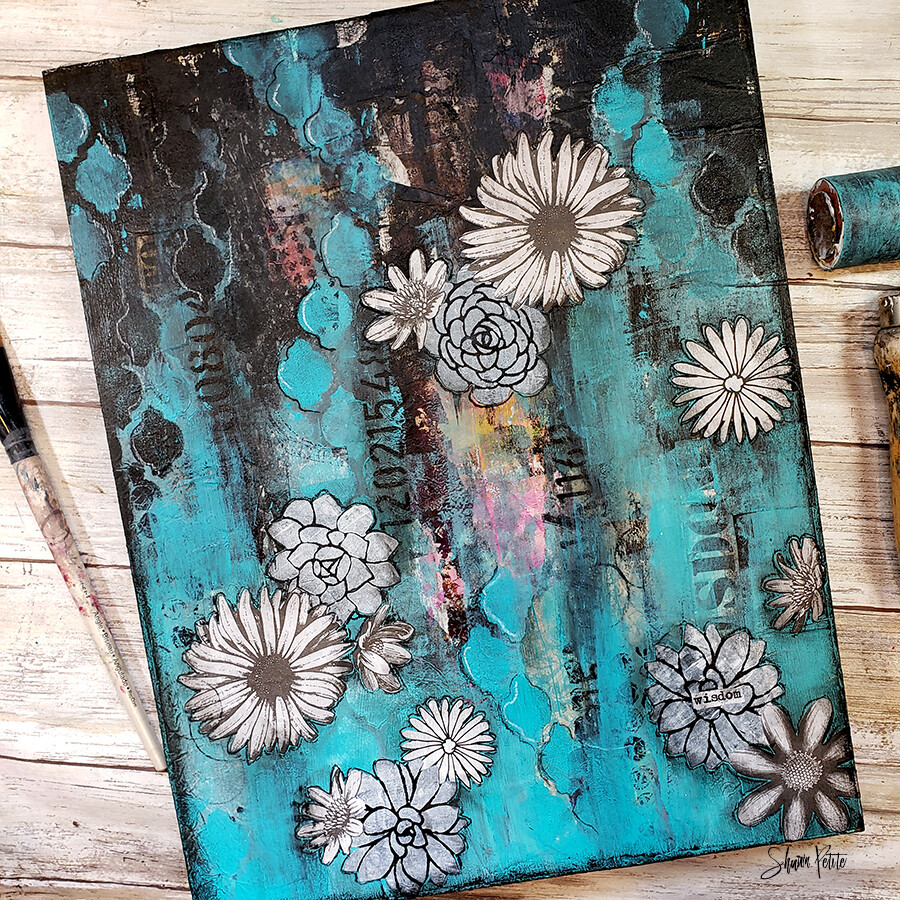 """Wisdom"" turquoise & white flowers Print on Wood and Print to be Framed"