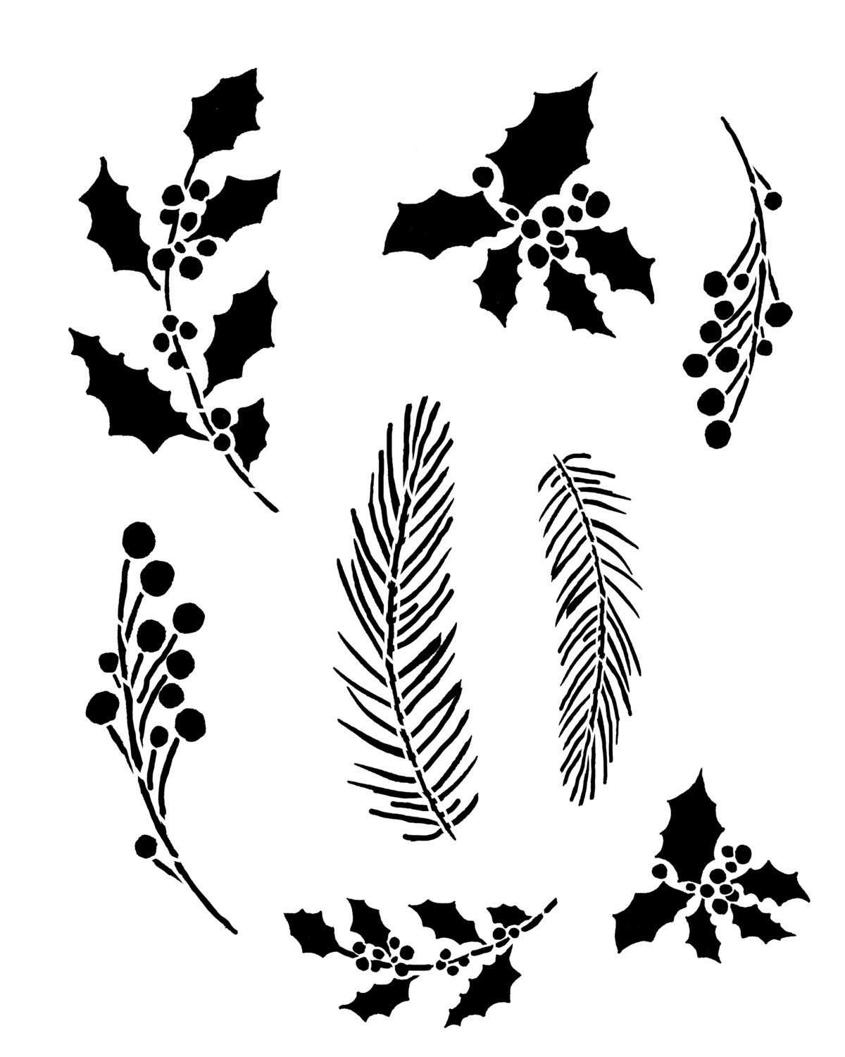 Christmas Berries and Evergreens 8x10 stencil