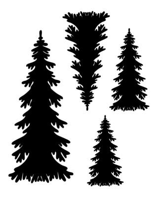 Christmas Trees Quad 8x10 stencil
