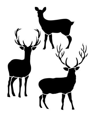 Deer Trio 8x10 stencil