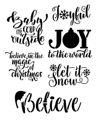 Christmas Words Joyful 12x16 stencil