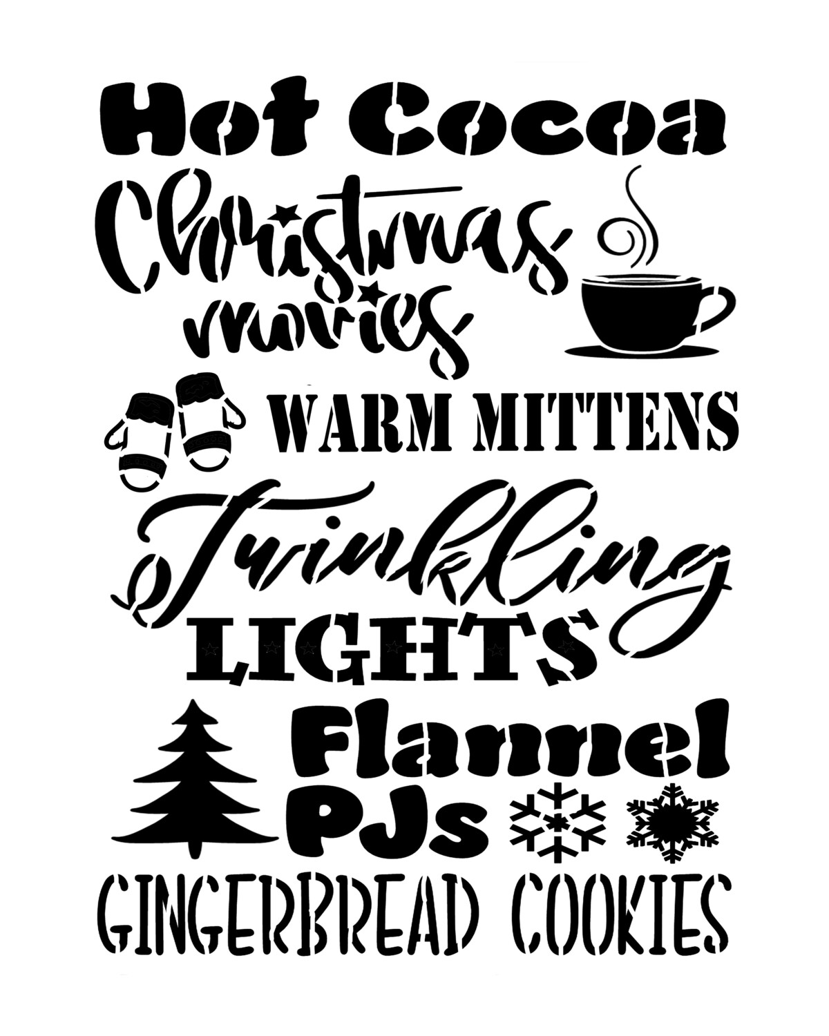 Christmas Words Hot Cocoa 12x16 stencil