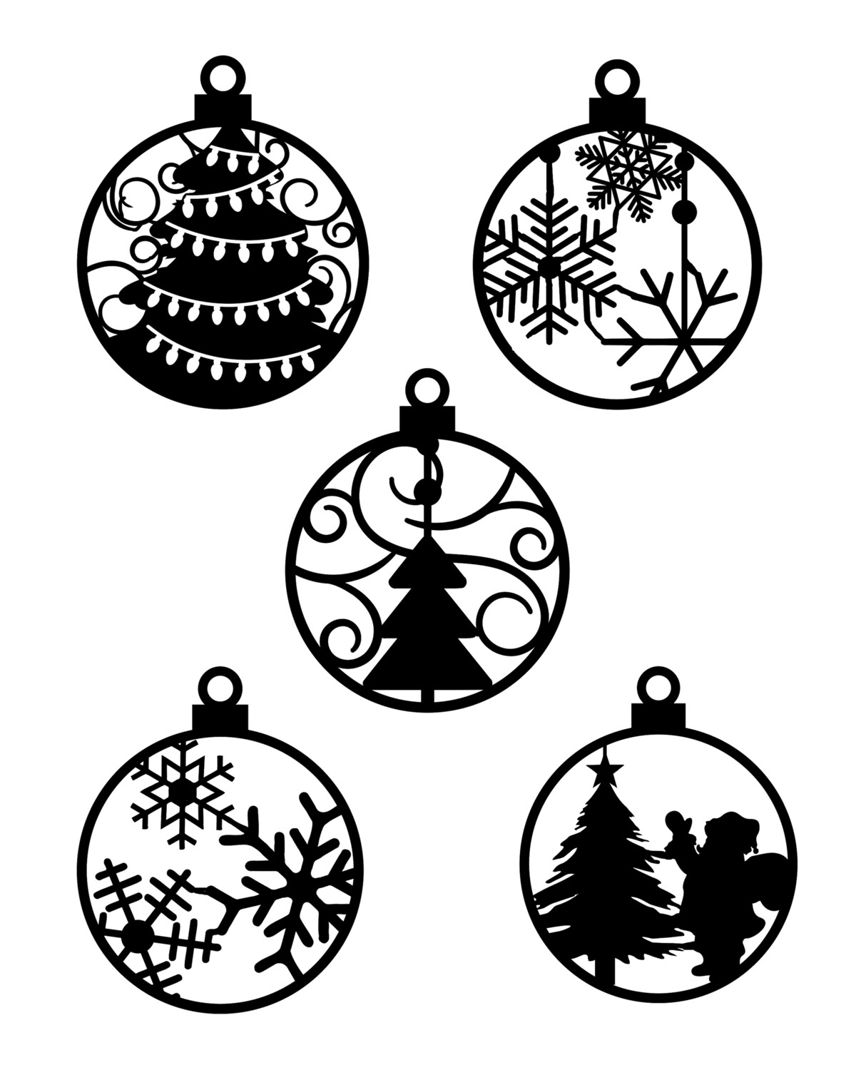 Christmas Ornaments 8x10 stencil