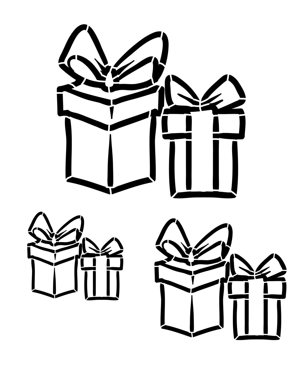 Presents stencil 12x16