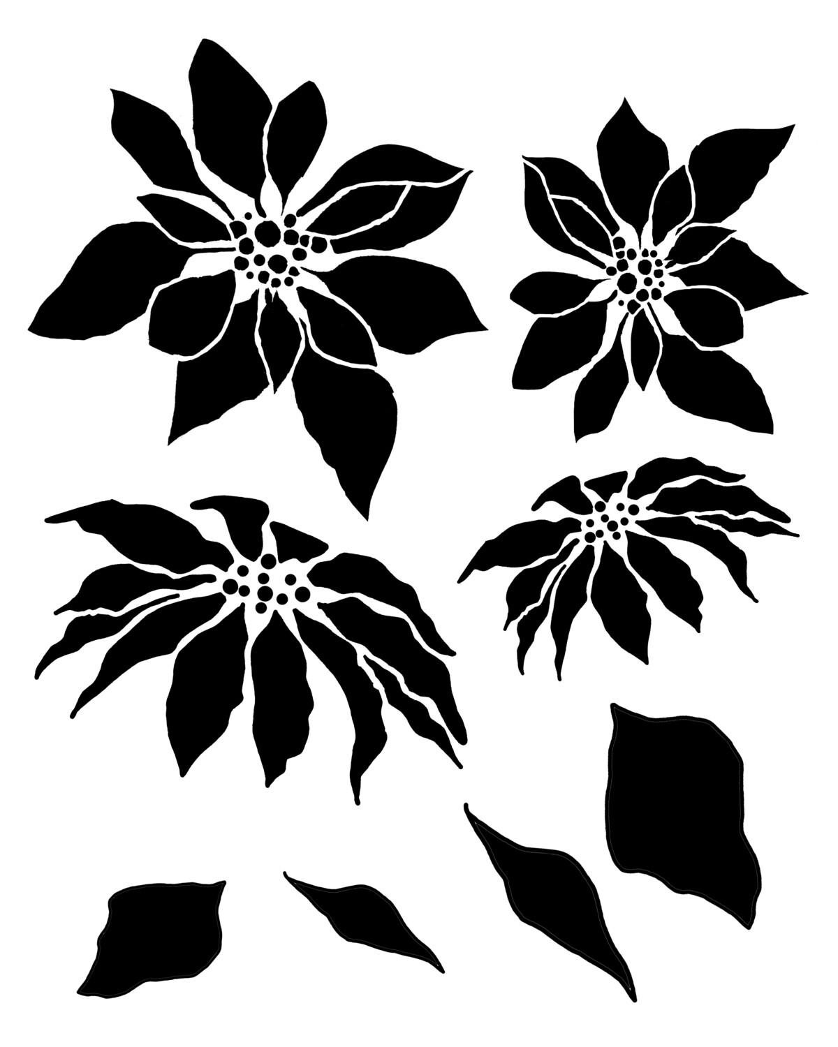 Poinsettia and Leaves stencil 12x16