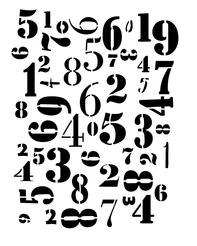 Numbers Jumbled stencil 12x16