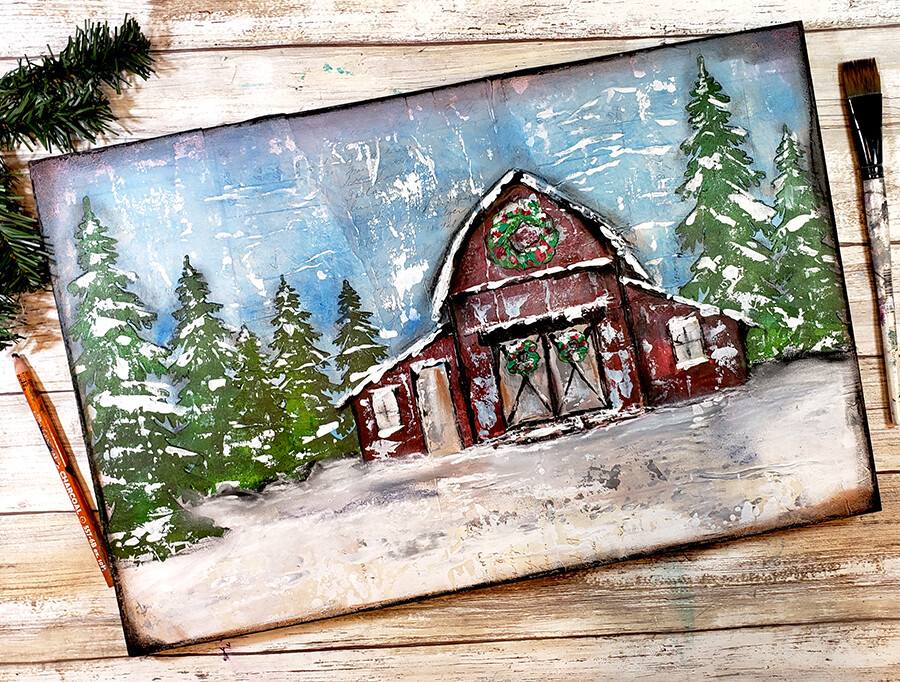 """Winter red Barn"" Print on Wood and Print to be Framed"