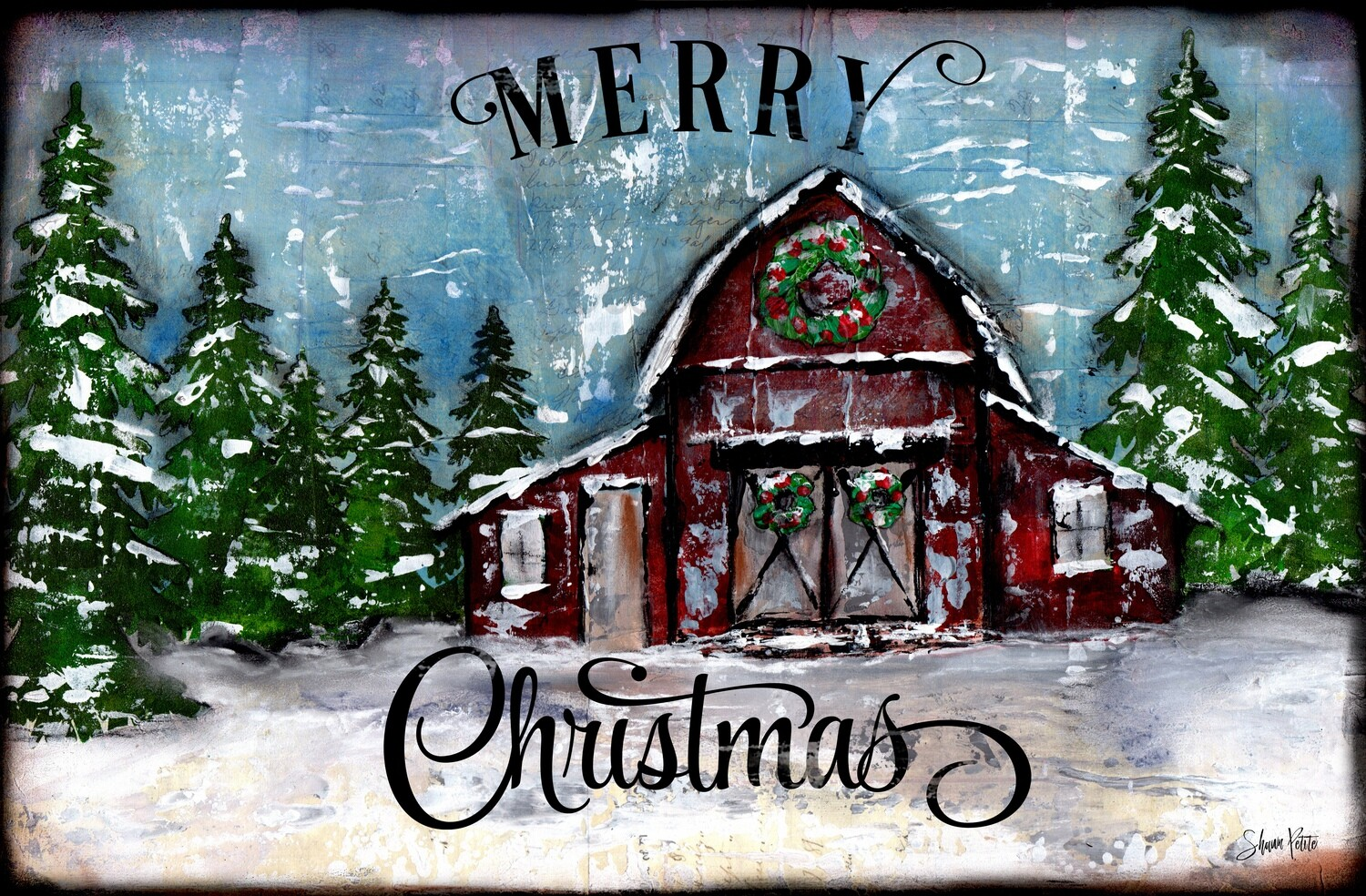 """Merry Christmas"" barn Print on Wood and Print to be Framed"