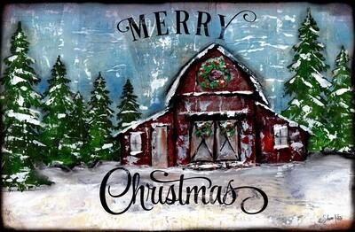 """Merry Christmas"" barn Print on Wood and Print to be Framed"
