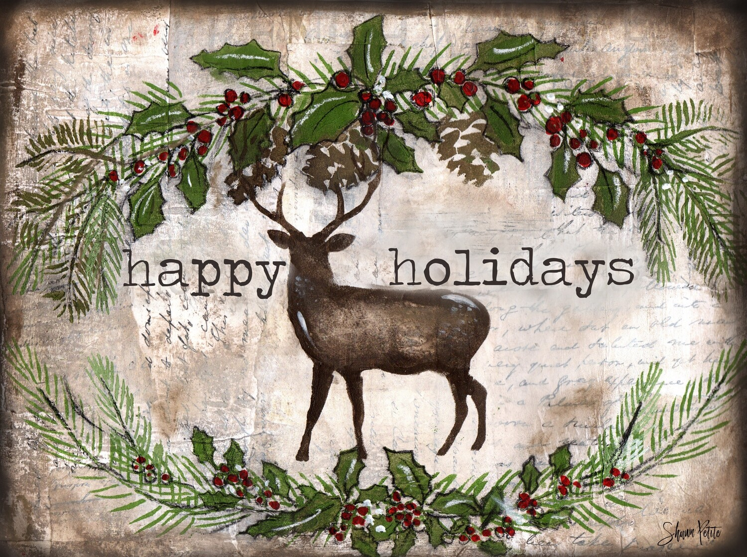 """Happy Holiday"" deer Print on Wood and Print to be Framed"