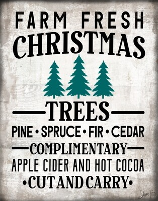 """""""Farm Fresh Christmas Trees"""" Print on Wood and Print to be Framed"""