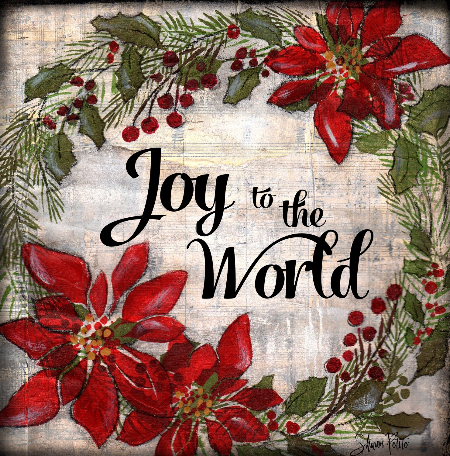 """Joy to the World"" wreath Print on Wood and Print to be Framed"