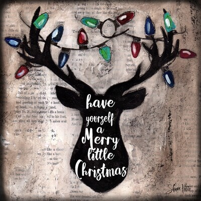 """""""Have Yourself a Merry Little Christmas"""" deer Print on Wood and Print to be Framed"""