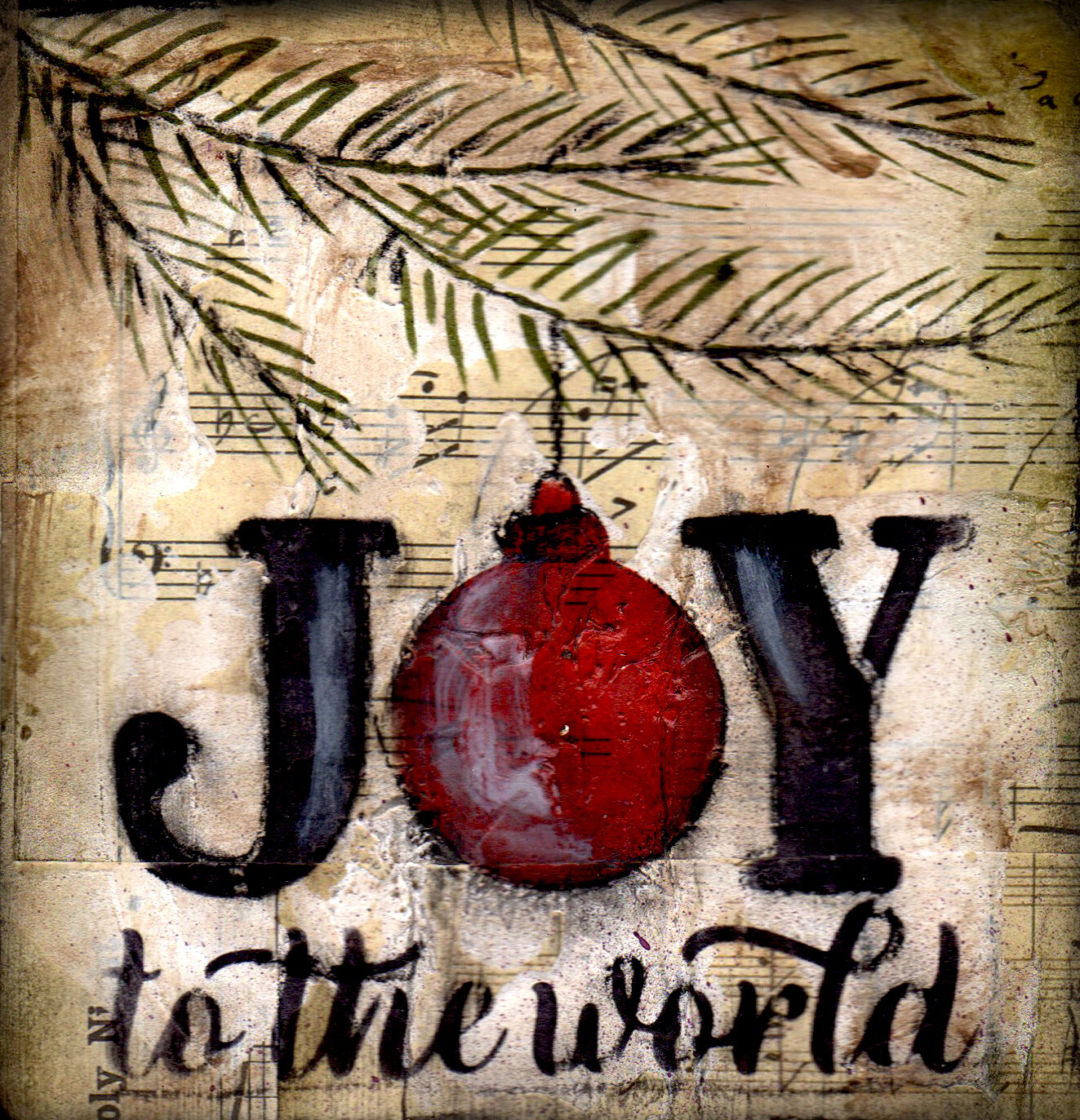 """""""Joy to the World"""" tree branch Print on Wood and Print to be Framed"""