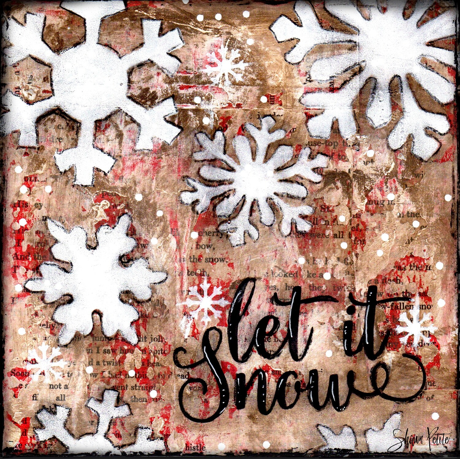"""Let it Snow"" snowflakes Print on Wood and Print to be Framed"