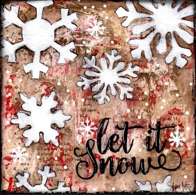 """""""Let it Snow"""" snowflakes Print on Wood and Print to be Framed"""