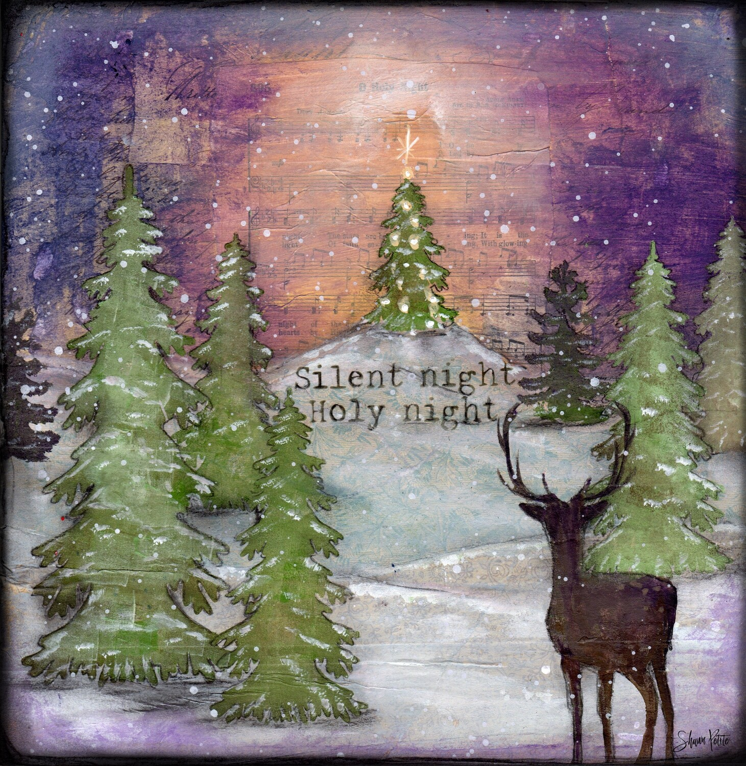 """Silent Night, Holy Night"" with deer Print on Wood and Print to be Framed"